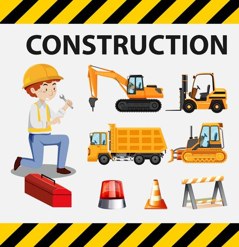 Man and construction trucks on poster