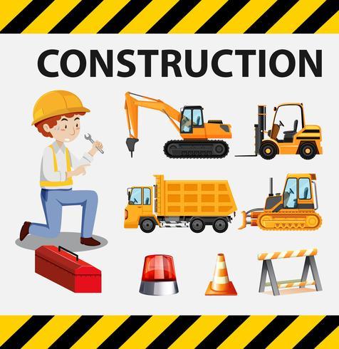 Camiones de construcción y hombre en cartel.