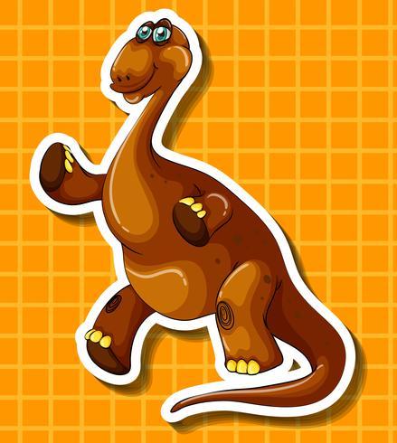 Dinossauro marrom em fundo amarelo vetor