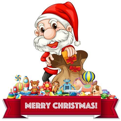 Tema de Natal com Papai Noel e muitos brinquedos vetor