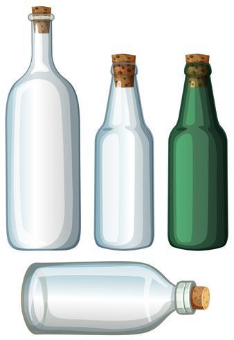 Fyra mönster av glasflaskor
