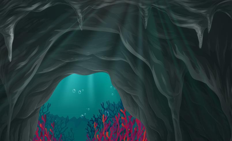 Natuurscène van grot onder de zee