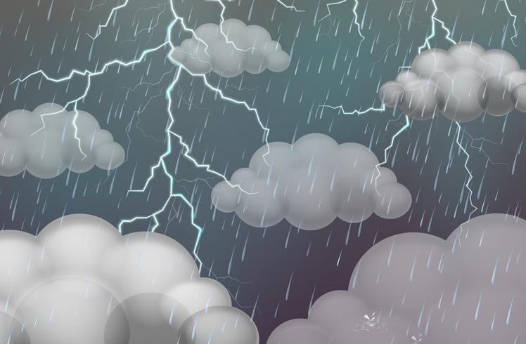 Escena del cielo con truenos y lluvia. vector