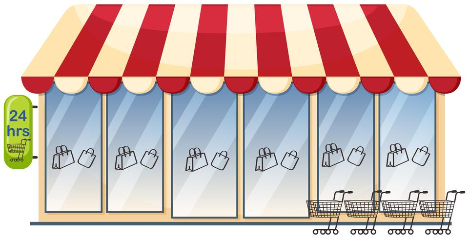 Een supermarkt op witte achtergrond vector