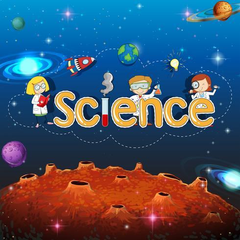 Wetenschapsbanner op planeetmalplaatje