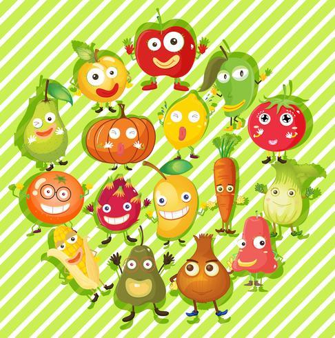 Diferentes tipos de frutas y verduras.