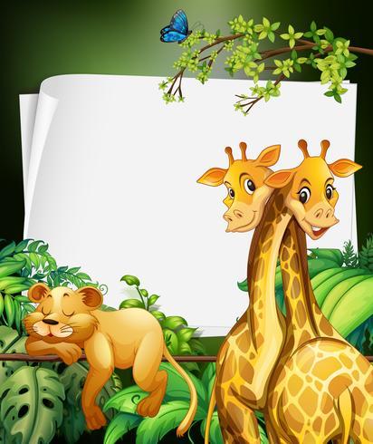Diseño de la frontera con jirafas y leones en el bosque.