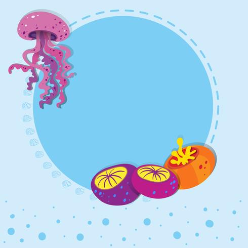 Border design with jelly fish vector