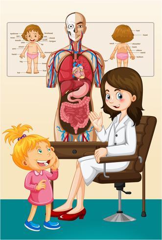 Menina e médico na clínica