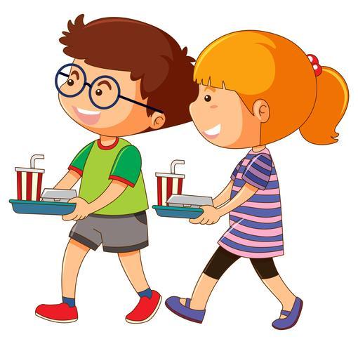 Ragazzo e ragazza tenendo il vassoio di cibo vettore