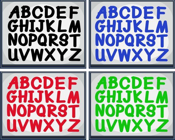Englisches Alphabet in vier Farben