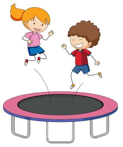 Crianças, pular, ligado, trampoline vetor