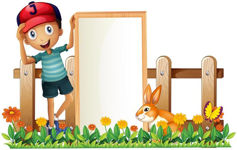 Um, menino, segurando, um, emoldurado, vazio, bandeira, com, um, coelho