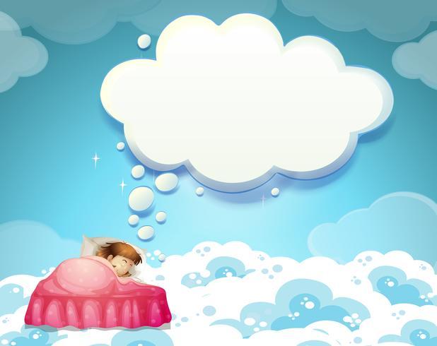 Menina, dormir, cama, com, nuvens, fundo