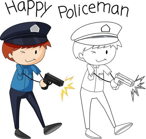 Doodle personaggio di polizia semplice vettore