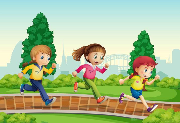 Grupo de garota correndo no parque vetor