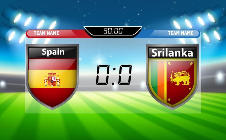 Een scorebord Spanje VS Srilanka vector