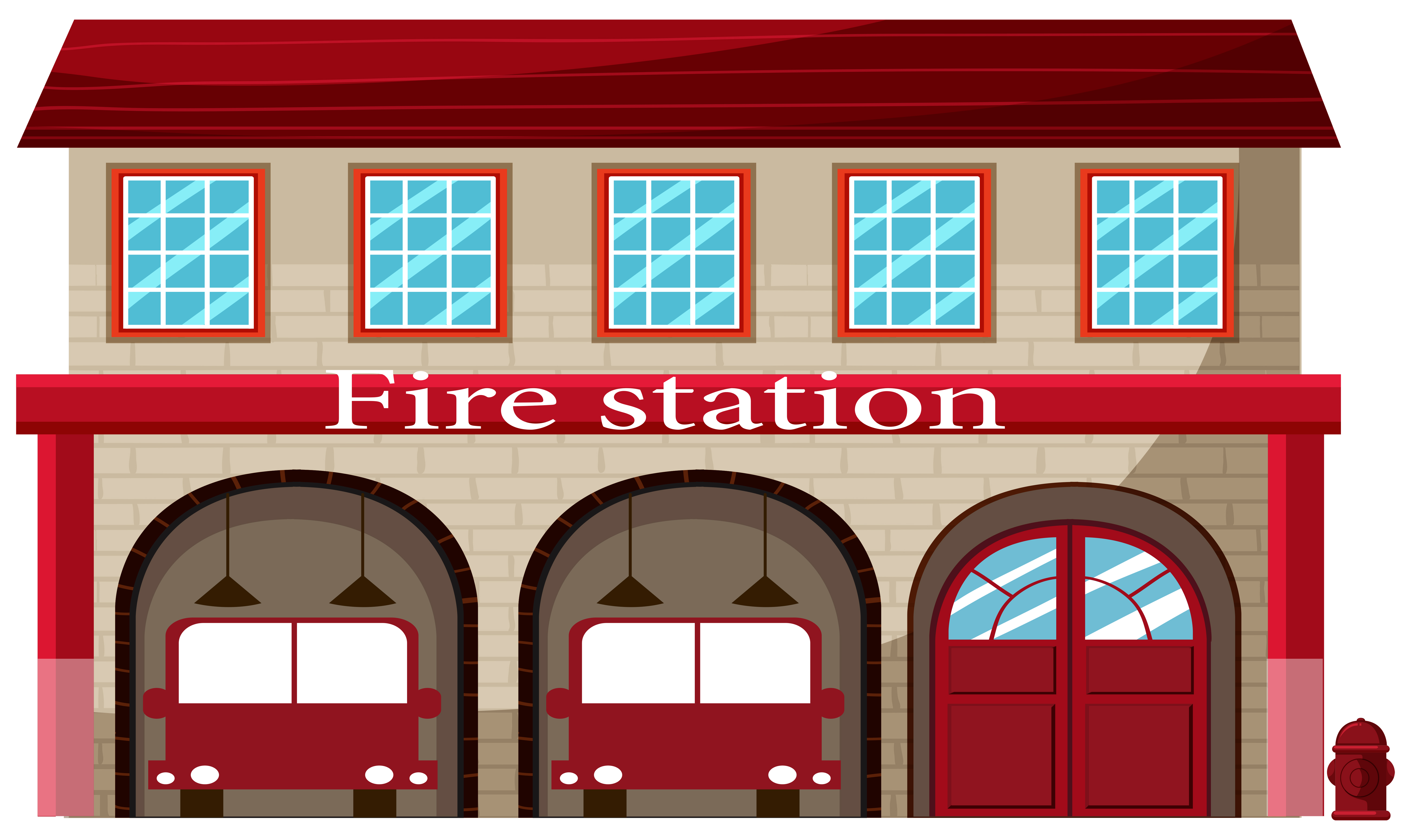 A fire station on white background - Download Free Vectors