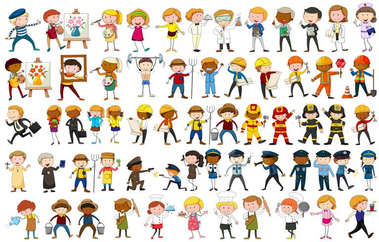Different character of many occupations vector