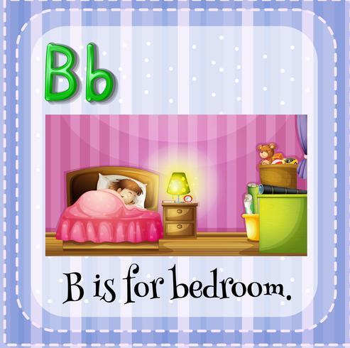 Flashcard letter B is voor slaapkamer