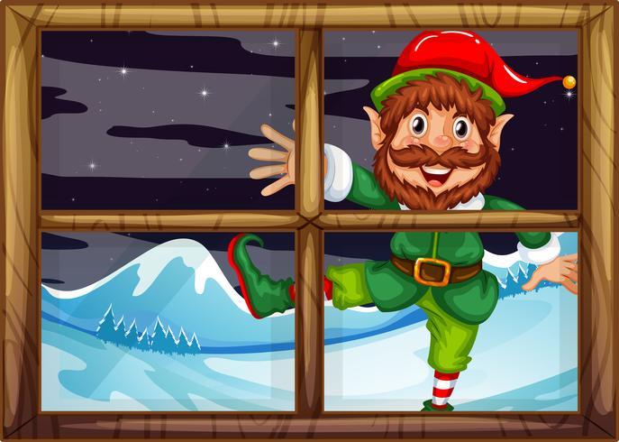 A christmad elf outside window