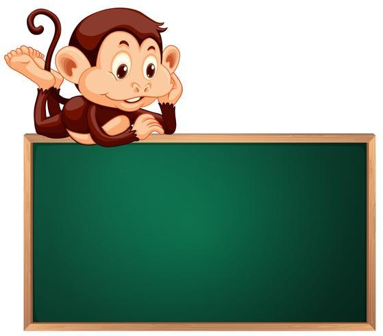 A cute monkey and blackboard banner