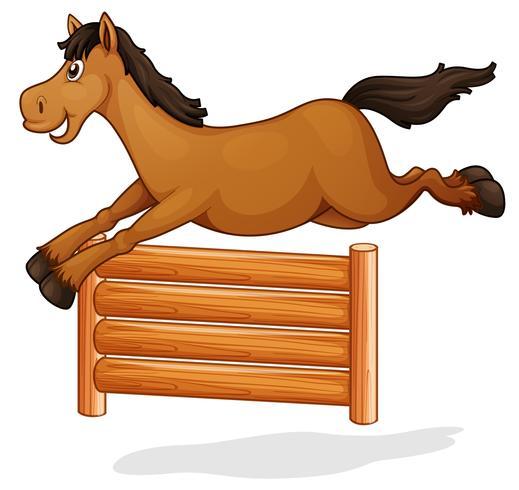 Um, cavalo, pulo, ligado, cerca madeira vetor