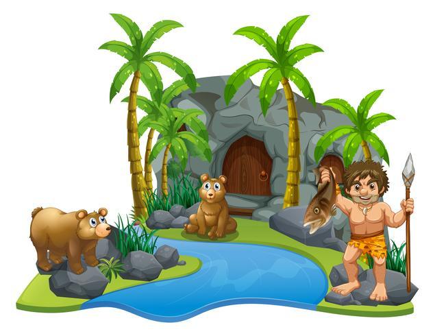 Hombre de las cavernas y dos osos por el río