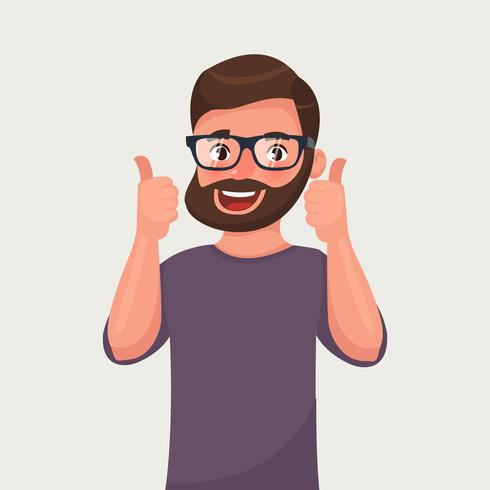 Happy man in glasses shows gesture cool