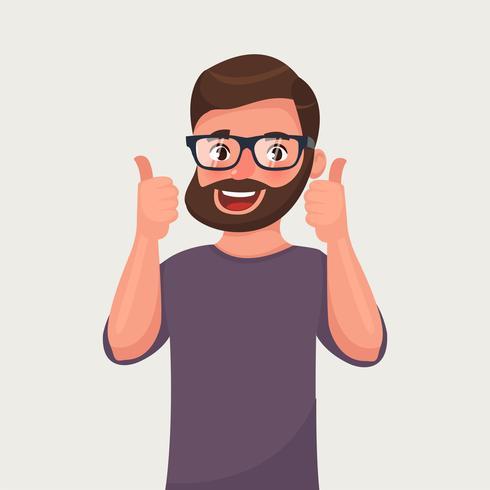 Lycklig man i glasögon visar gestkyl