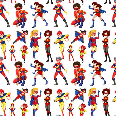 Seamless male and female superheroes
