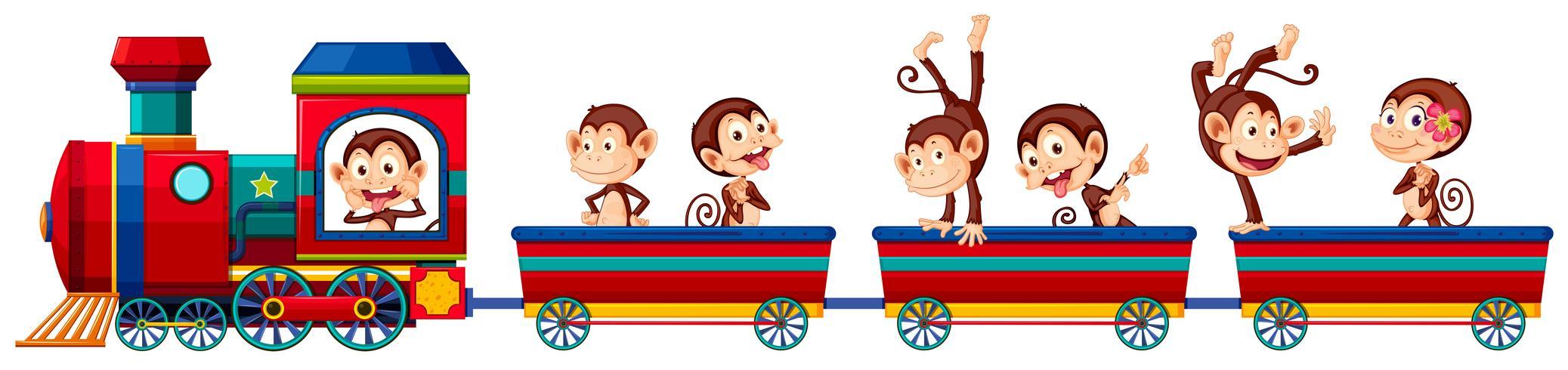 Trem e macacos