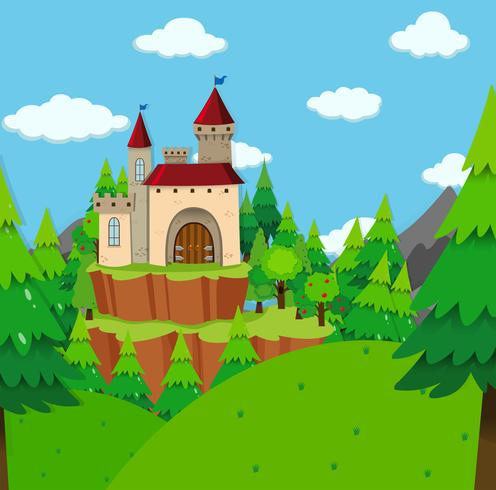 Castle tower in the forest