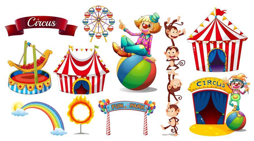 Circo ambientato con giochi e personaggi