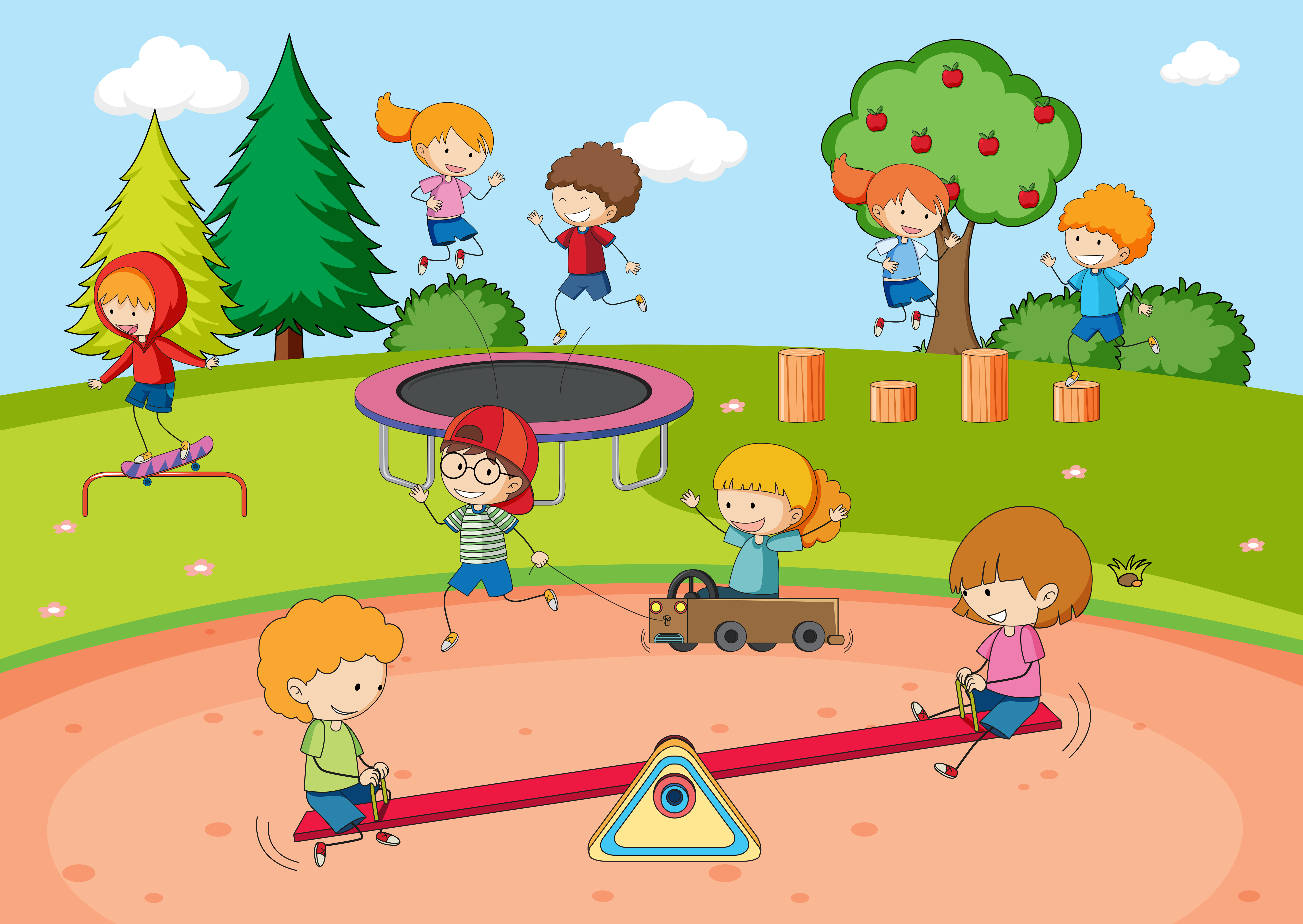 Children playing at playground - Download Free Vectors ...