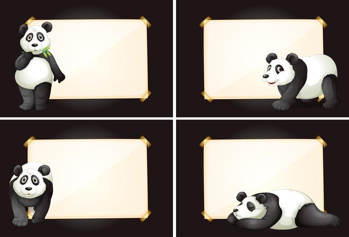 Quatro quadros com ursos de panda bonito