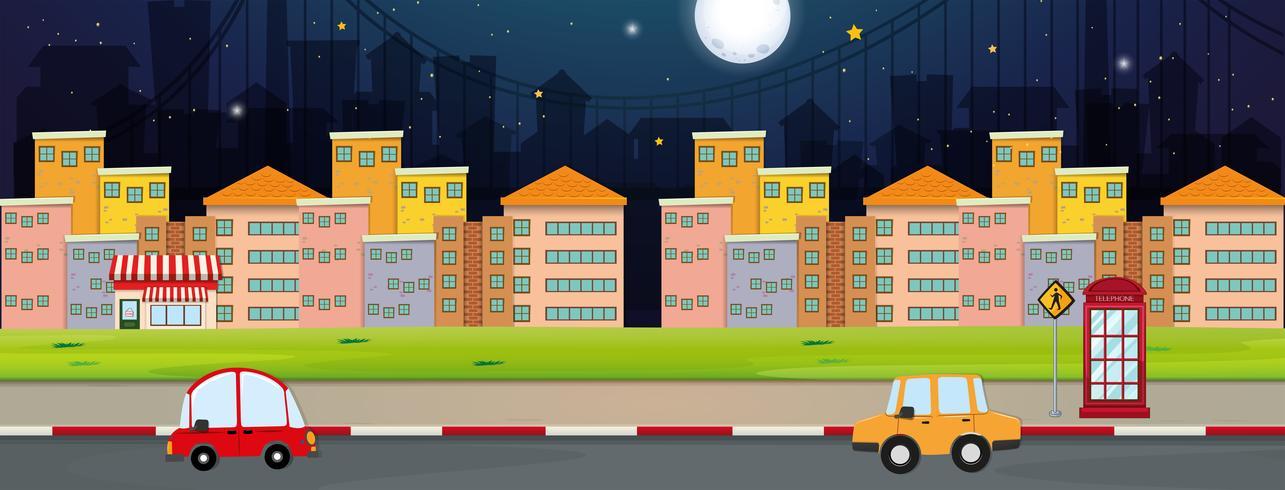 Scena di sfondo con edifici e auto in città
