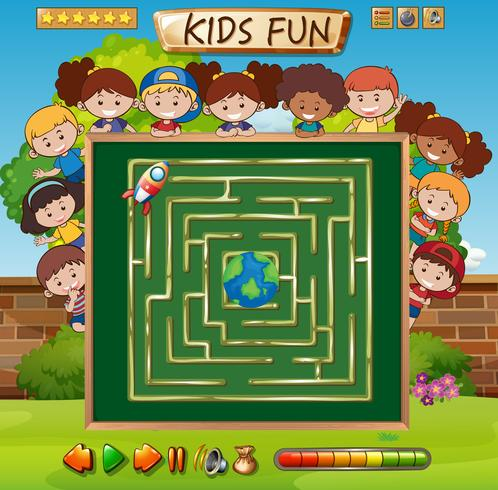 Maze game on chalkboard game template