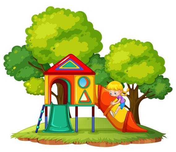 Een meisje die dia speelt bij het park