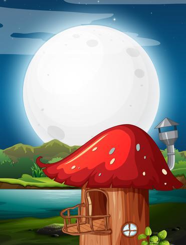 Casa de cogumelo à noite vetor