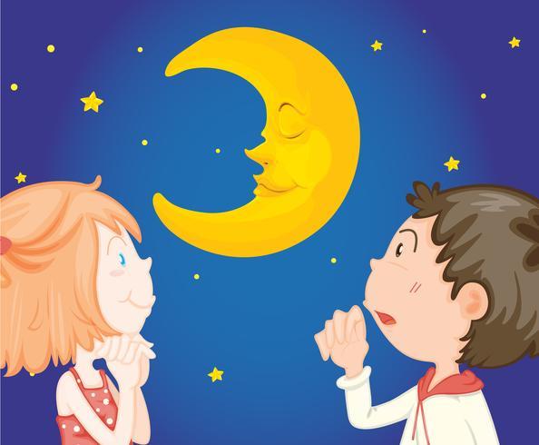 Kinderen 's nachts met de maan vector