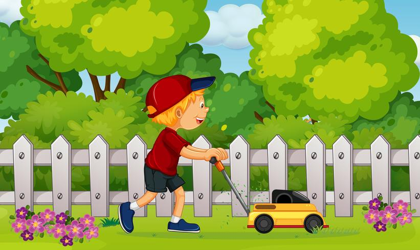 A Boy Cutting Grass with Lawn Mower