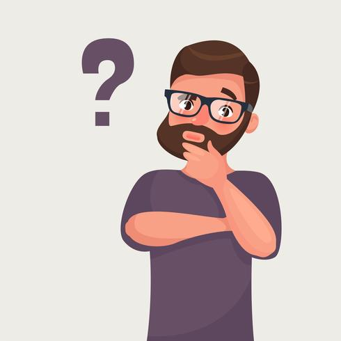 Thinking man with question mark vector