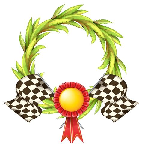 Een lint met twee racevlaggen