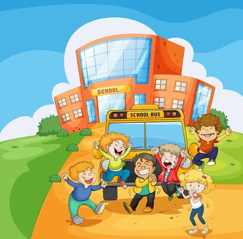 Een schoolbus voor de school