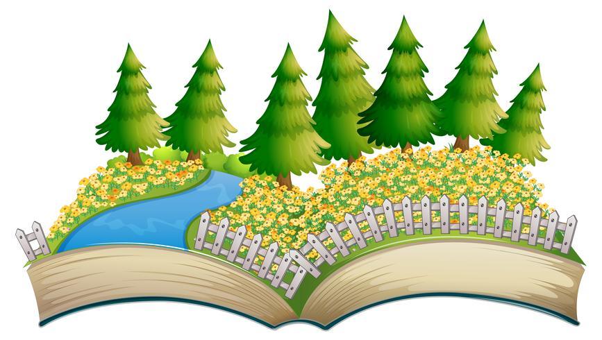 Libro abierto tema de campo de flores vector