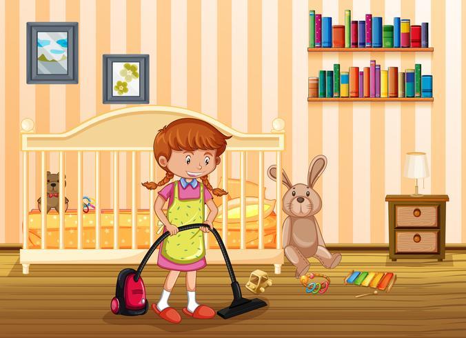 Une mère nettoyant une chambre d'enfant