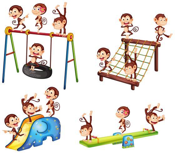 Una serie di scimmie che giocano al parco giochi vettore