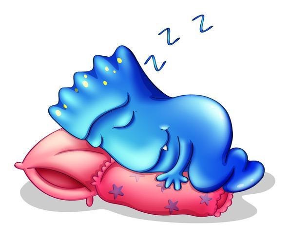 Een blauw monster dat boven een kussen slaapt vector