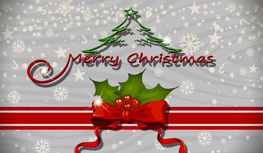Modello di cartolina di Natale con mistletoes e nastro vettore